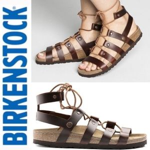 CLEO GLADIATOR SANDALS BROWN LEATHER